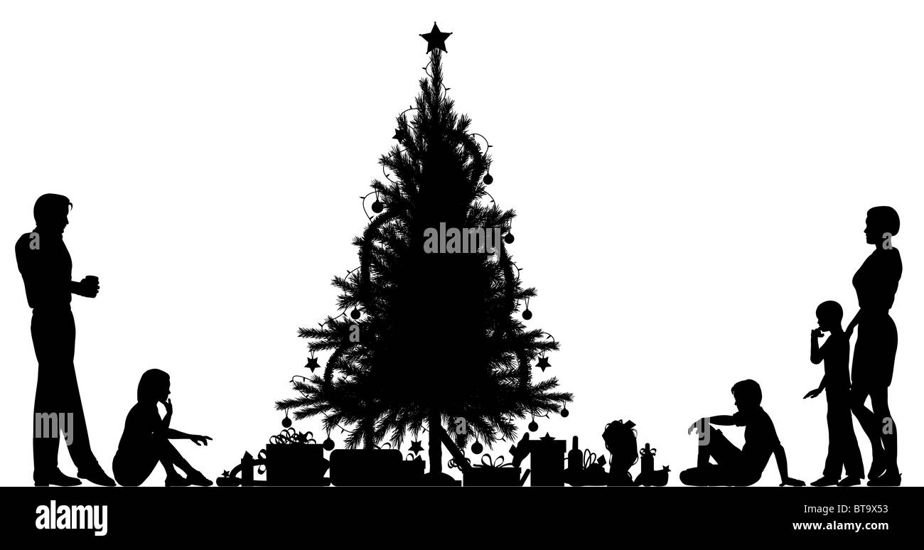 illustrated silhouette of a family around a christmas tree stock