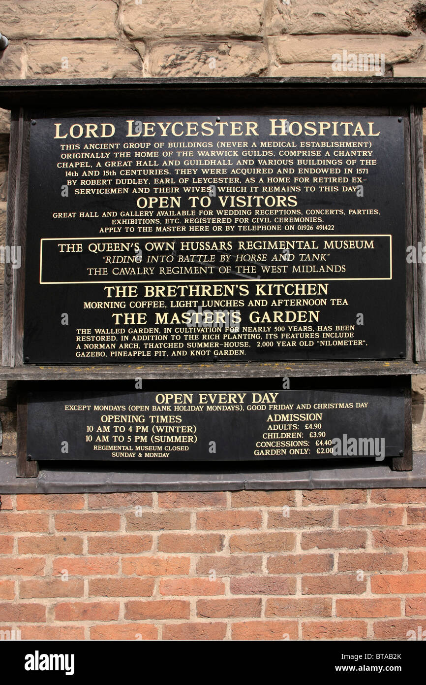 the history and information board outside the lord leycester