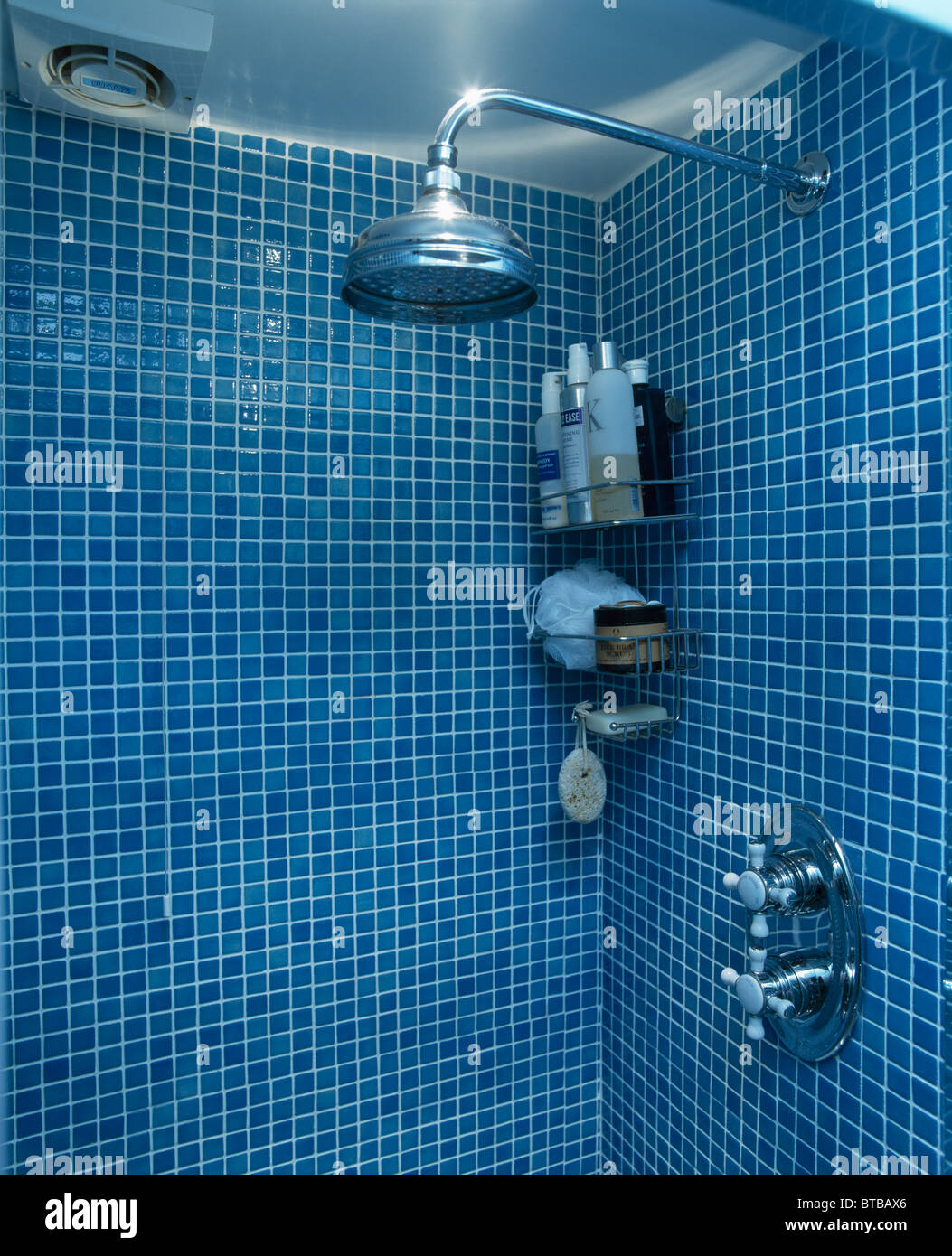 Close-up of chrome shower-head in blue mosaic tiled shower with ...