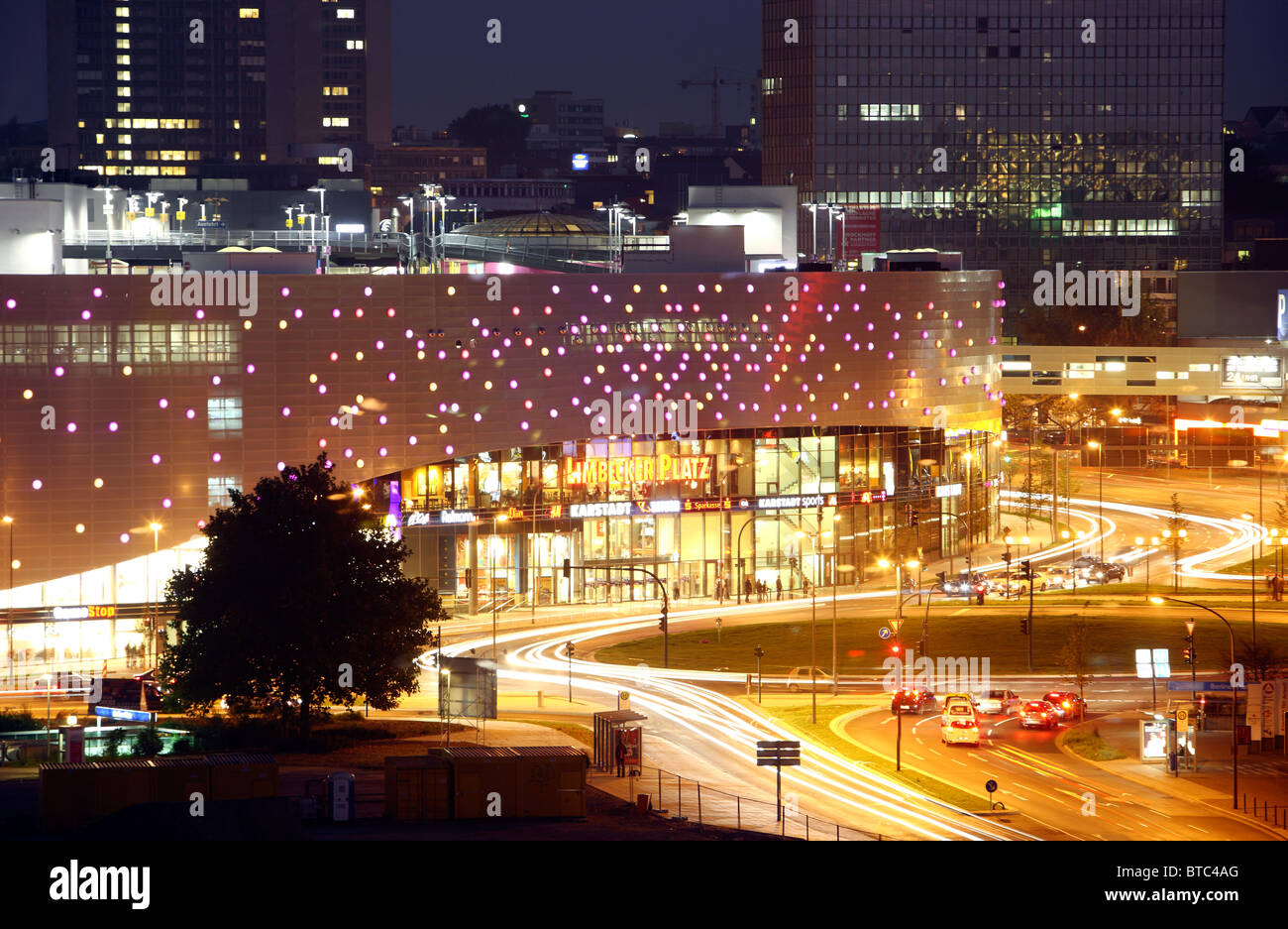 city skyline of essen germany at night shopping mall limbecker stock photo royalty free. Black Bedroom Furniture Sets. Home Design Ideas