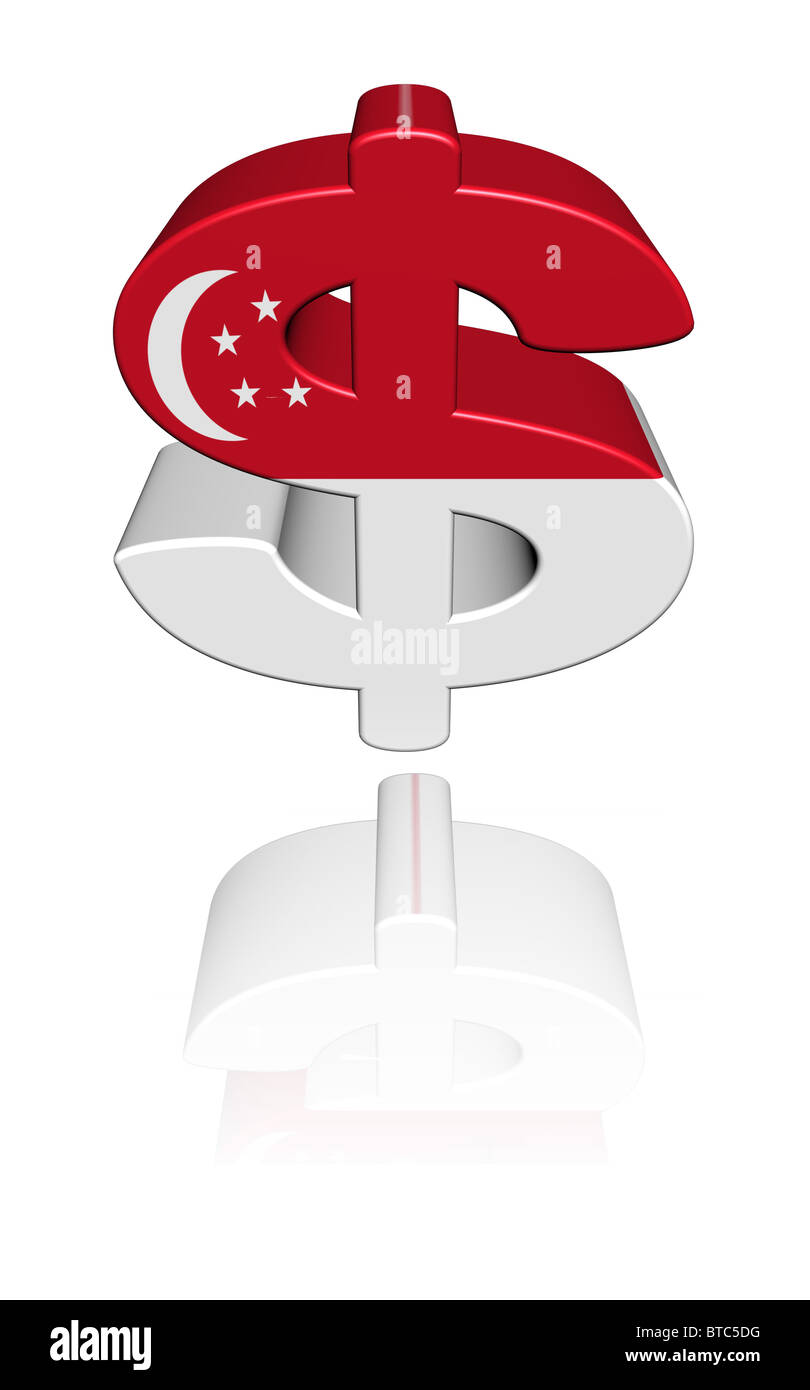 Singapore dollar symbol with flag reflected on white illustration singapore dollar symbol with flag reflected on white illustration biocorpaavc