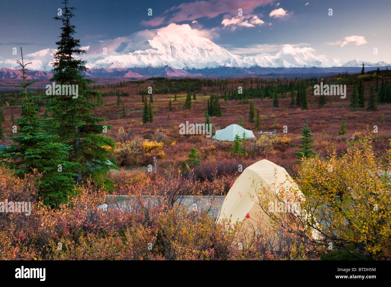 Scenic view of Mt. McKinley from Wonder Lake c&ground with tents in foreground Denali National Park Interior Alaska Autumn & Scenic view of Mt. McKinley from Wonder Lake campground with tents ...