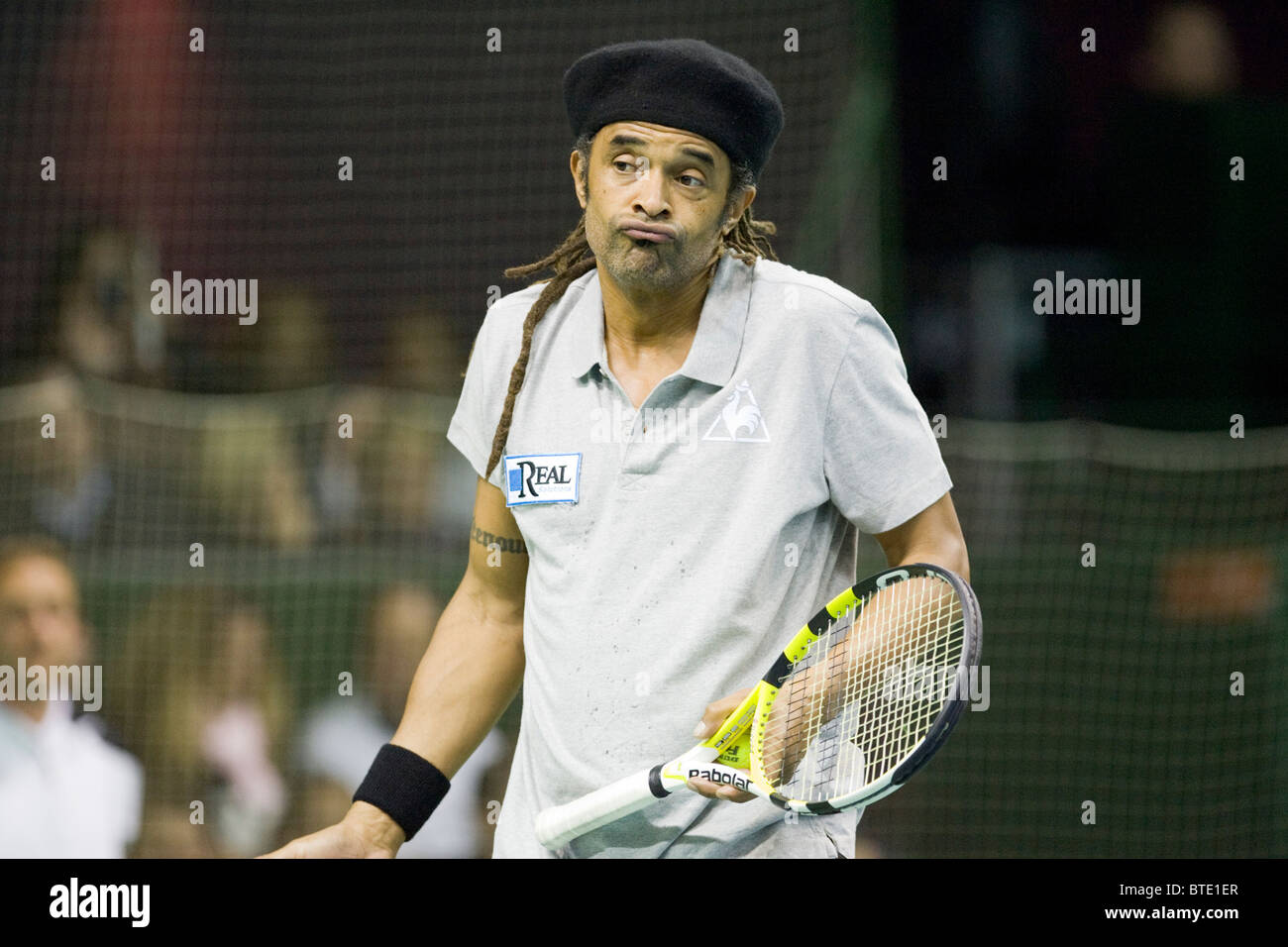 Yannick Noah at a show tennis match in Luxembourg Stock