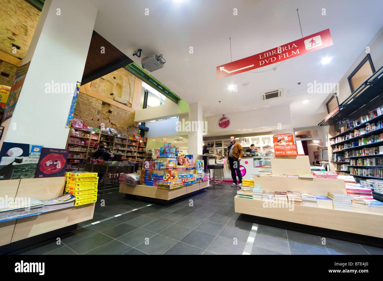 Bologna, Italy, Mondadori book shop interior with coffee bar Stock ...