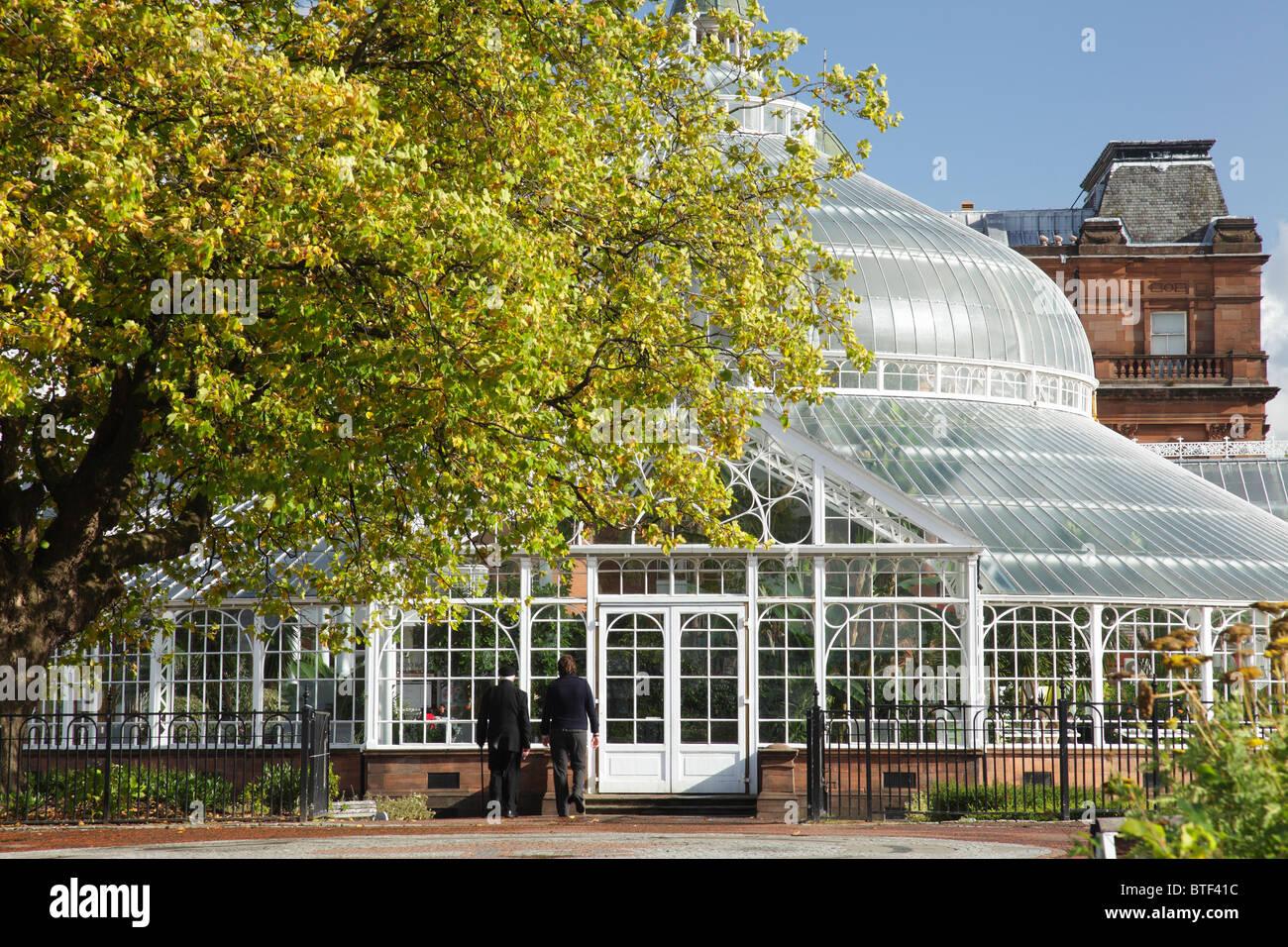 the glasgow green victorian winter gardens in autumn scotland uk