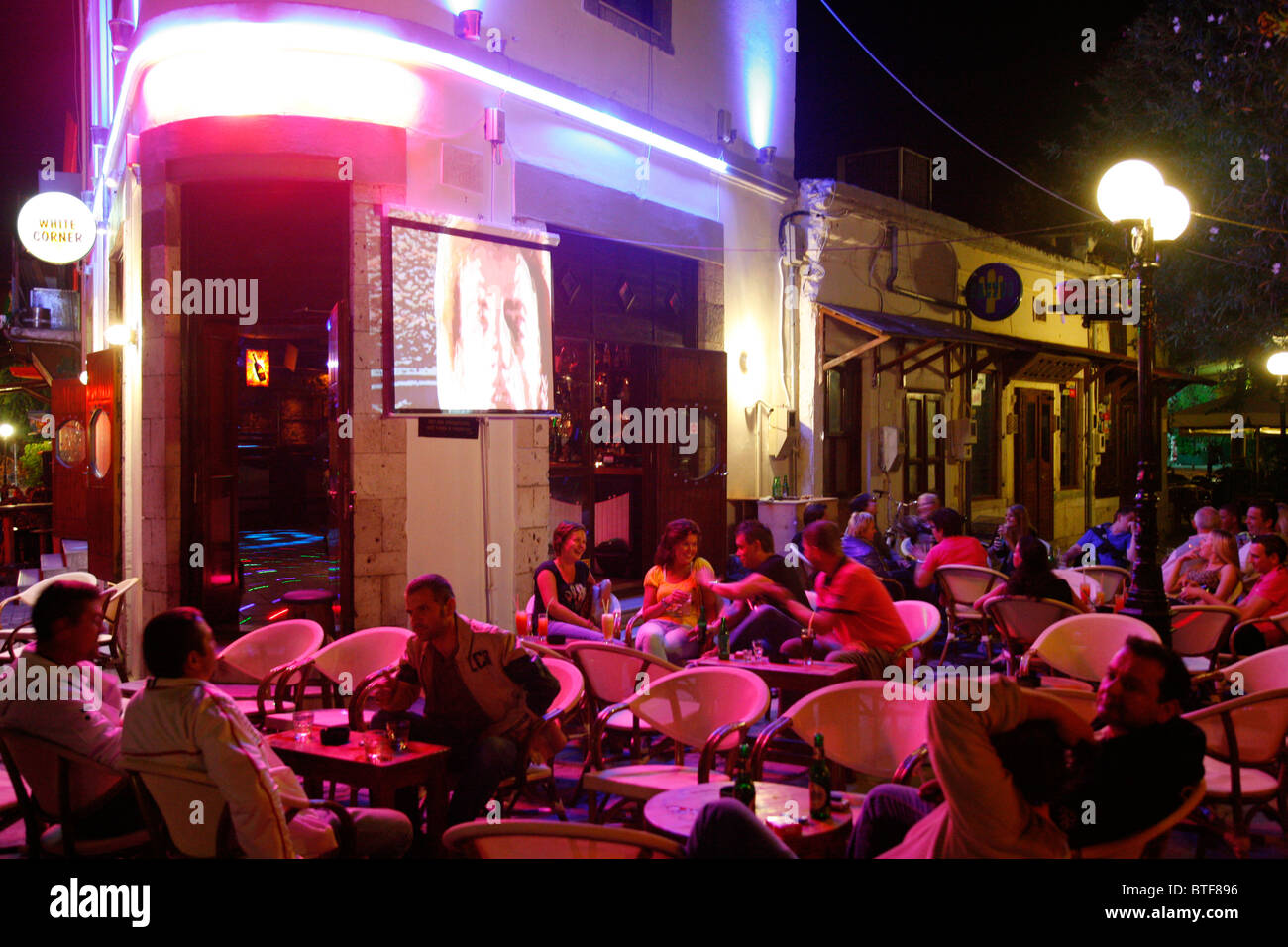 Gallery images and information kos greece nightlife - People At The White Corner Club In The Bar Street At Kos Town Kos