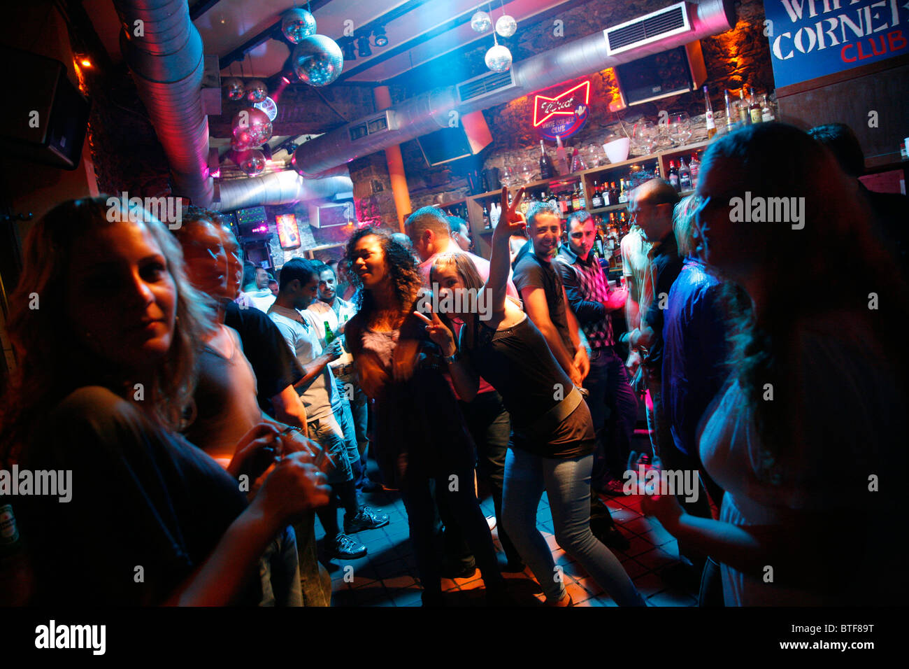 Gallery images and information kos greece nightlife - Stock Photo White Corner Club In The Bar Street At Kos Town Kos Greece