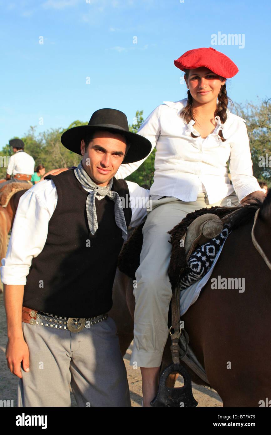 Gaucho Couple San Antonio De Areco Argentina Stock Photo