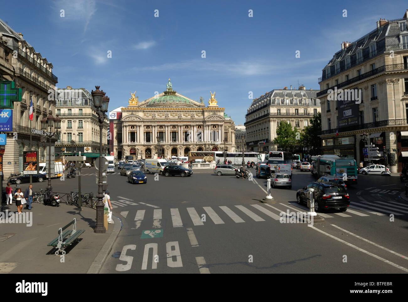place de l 39 opera palais garnier as seen from avenue de l 39 opera stock photo royalty free. Black Bedroom Furniture Sets. Home Design Ideas