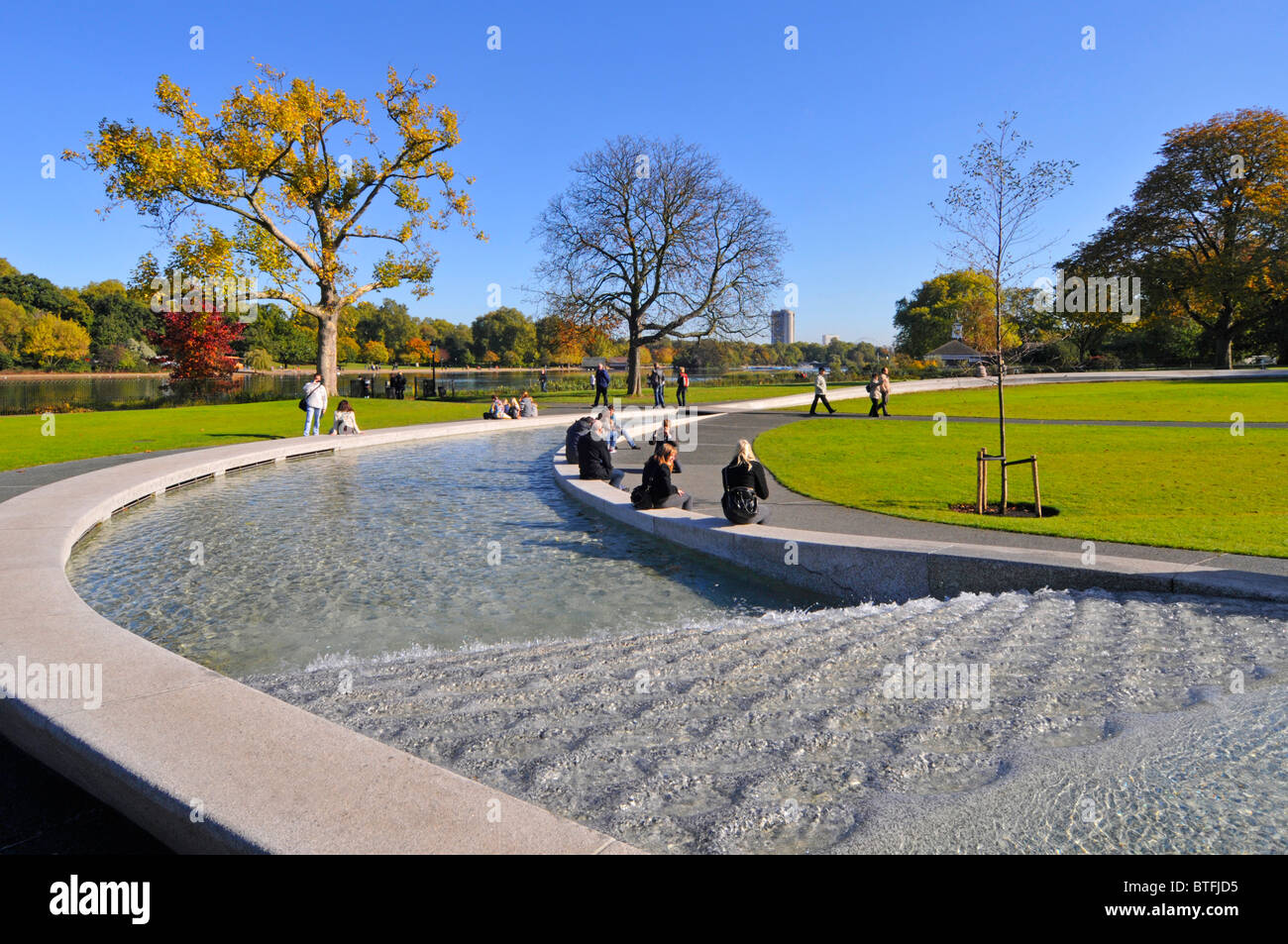 Water fountains hyde park - Princess Diana Water Memorial In Hyde Park London Stock Photo