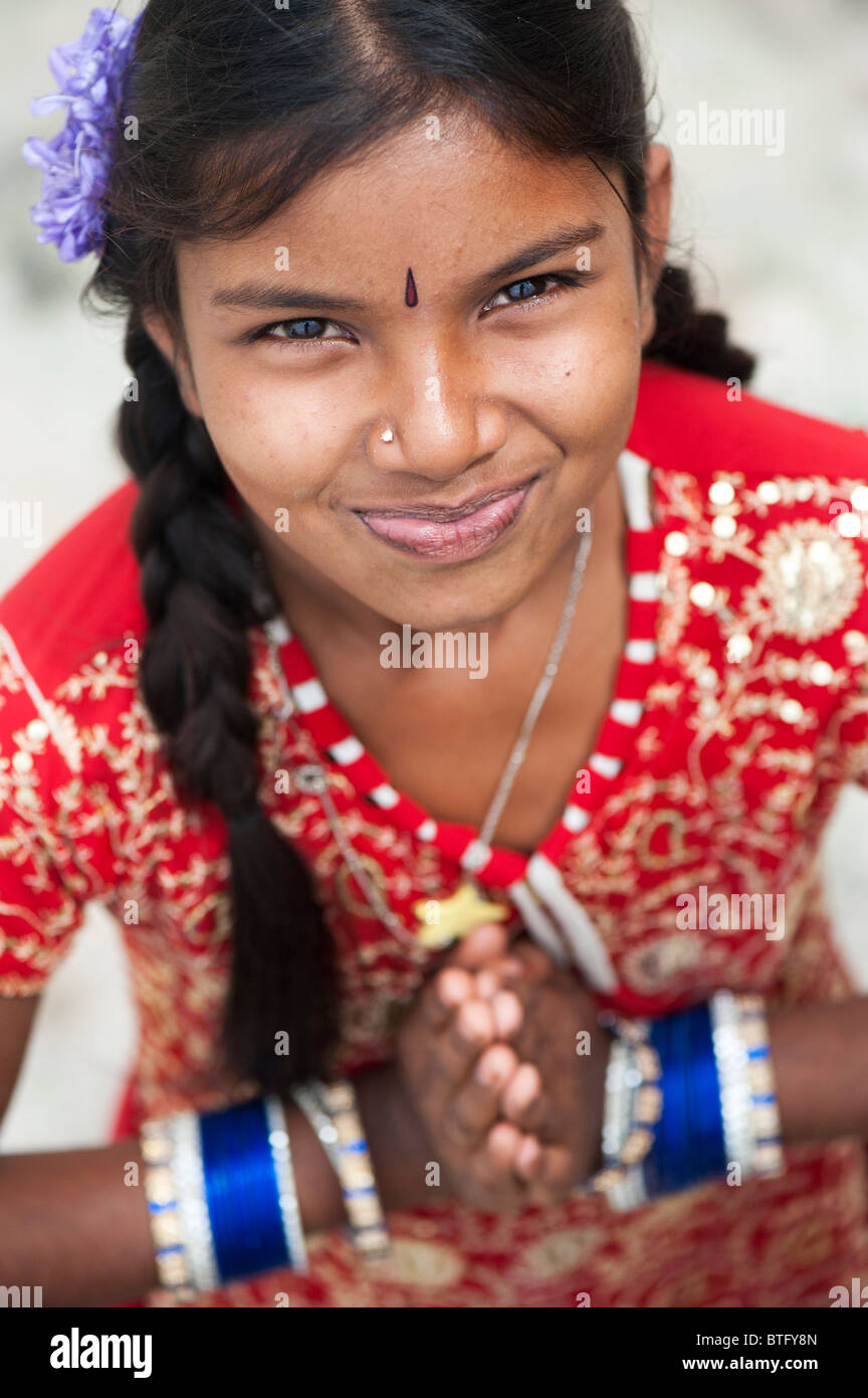 beautiful young indian with a big happy smile stock photo