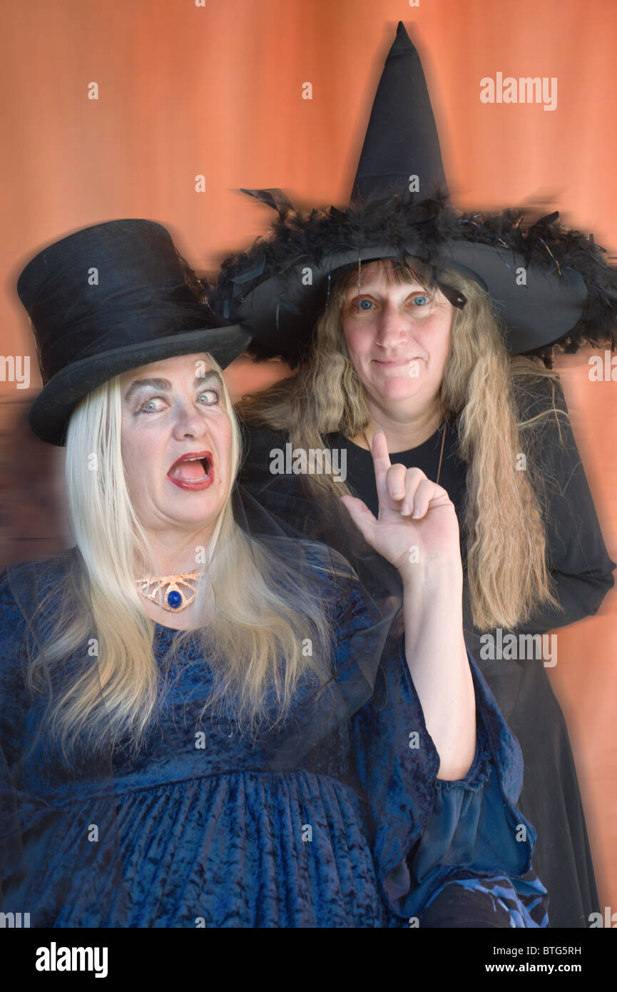Two scary witches prepare to cast their spells on Halloween in ...