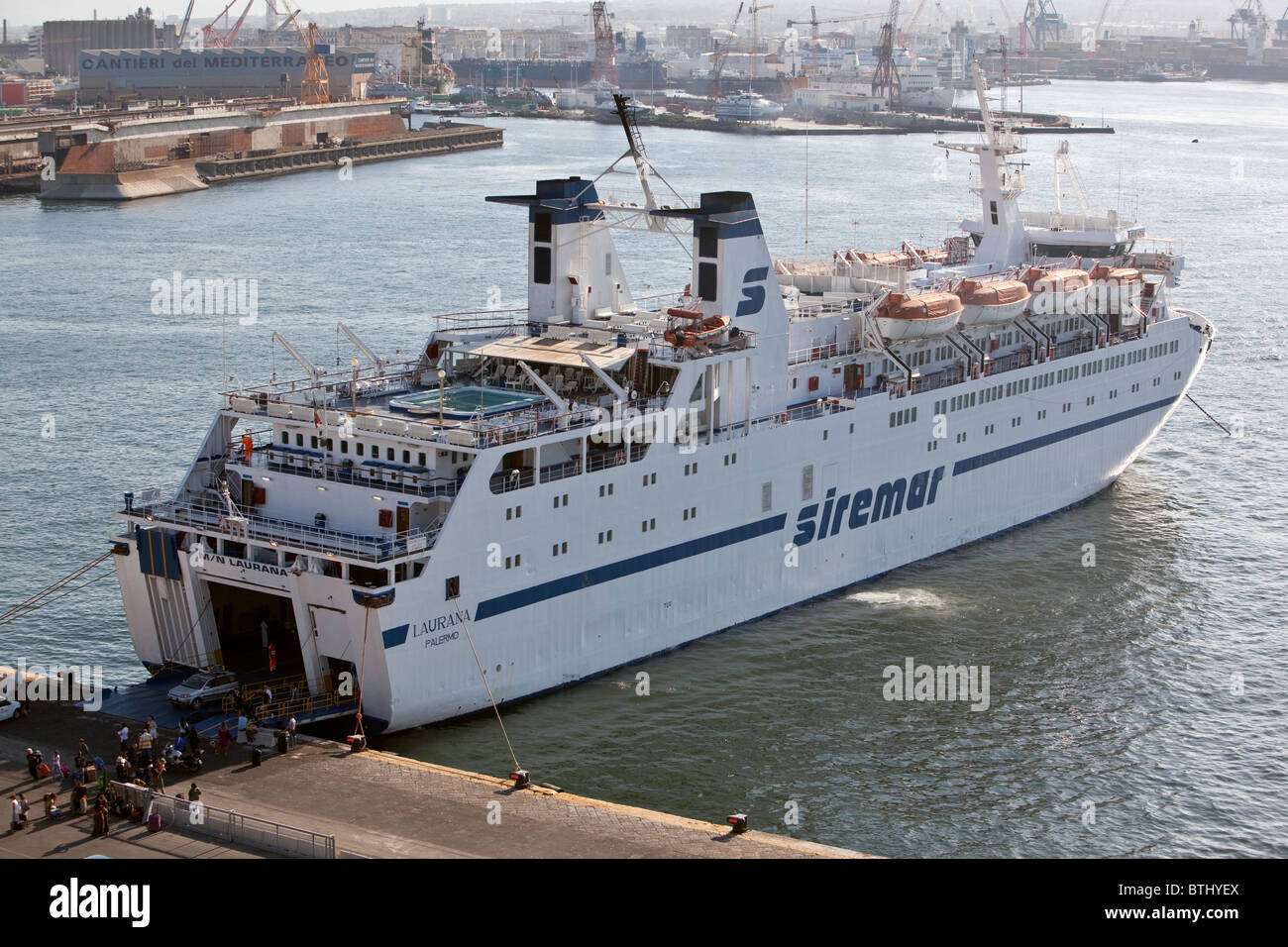 Morning Arrival Of Passenger Car Ferry From Palermo At Naples