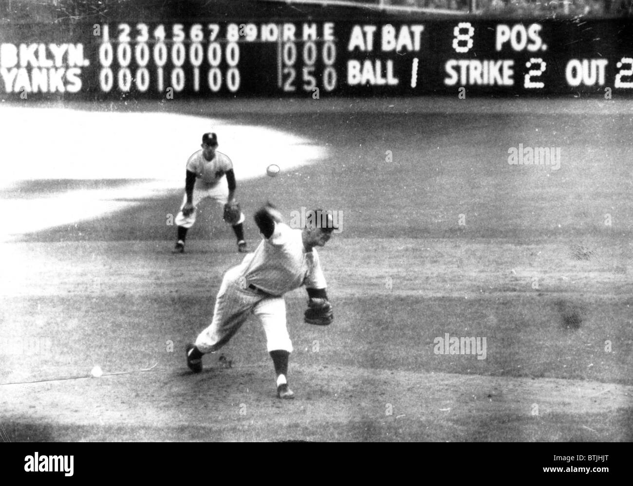 Don Larsen of the NY Yankees pitches perfect game against Brooklyn