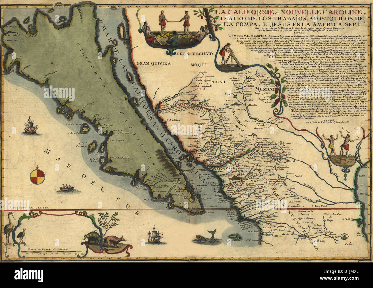 1720 map of Baja California and northwest Mexico showing