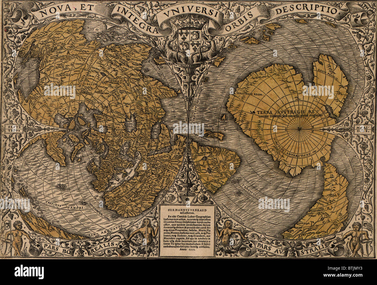 World Map Showing Hemispheres. 1531 world map showing Northern and Southern Hemispheres by Frenchman  Oronce Fine 1494 1555 The combines Ptolemaic concepts with new discoveries