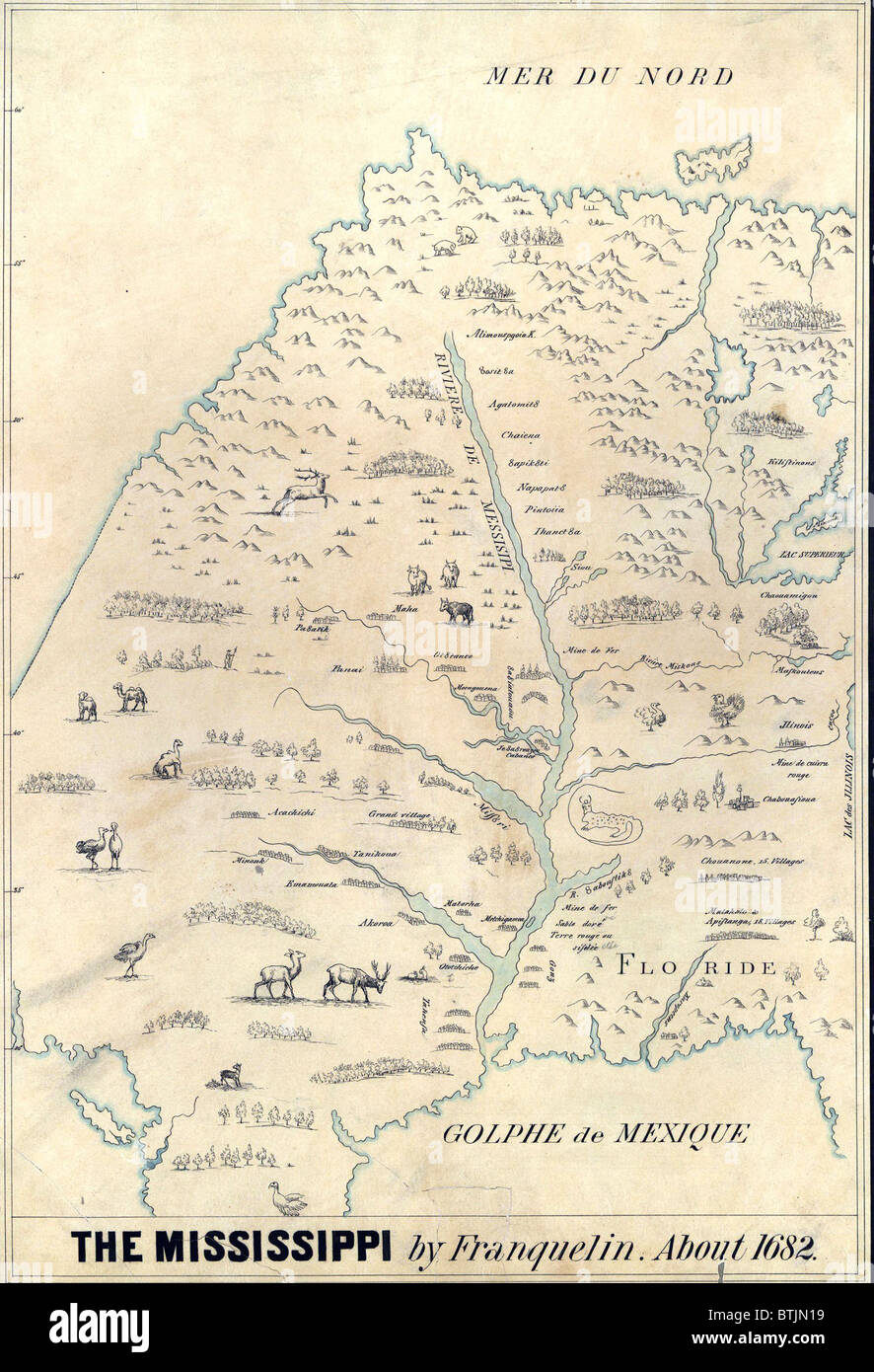1682 french map of the mississippi river and region showing locations of native american settlements