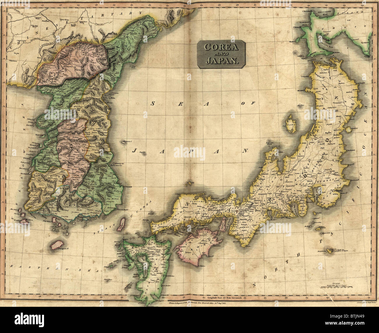 1815 map of Japan and Korea showing their geographic proximity
