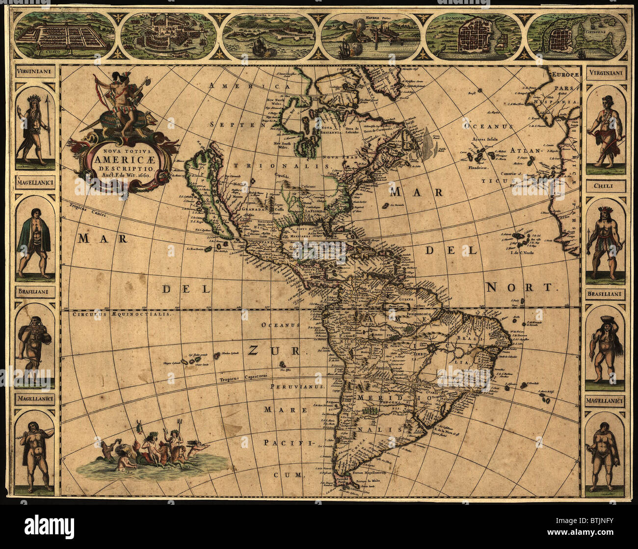 1660 map of the Western Hemisphere indicating the geographic