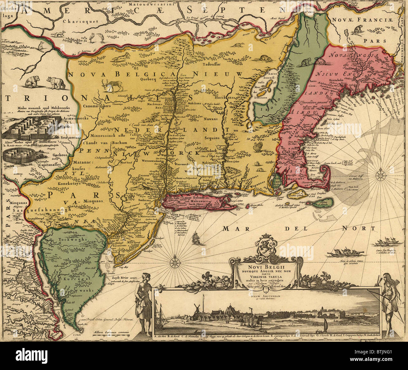 17th century map of land that became new england new jersey and new stock photo royalty free. Black Bedroom Furniture Sets. Home Design Ideas