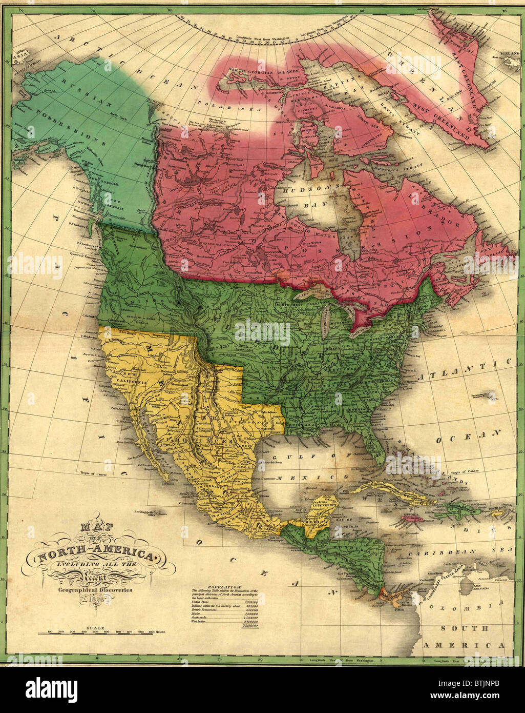 north american political boundaries in 1826 image shows the louisiana purchase and oregon territory alaska is labeled as a russian possession canada does