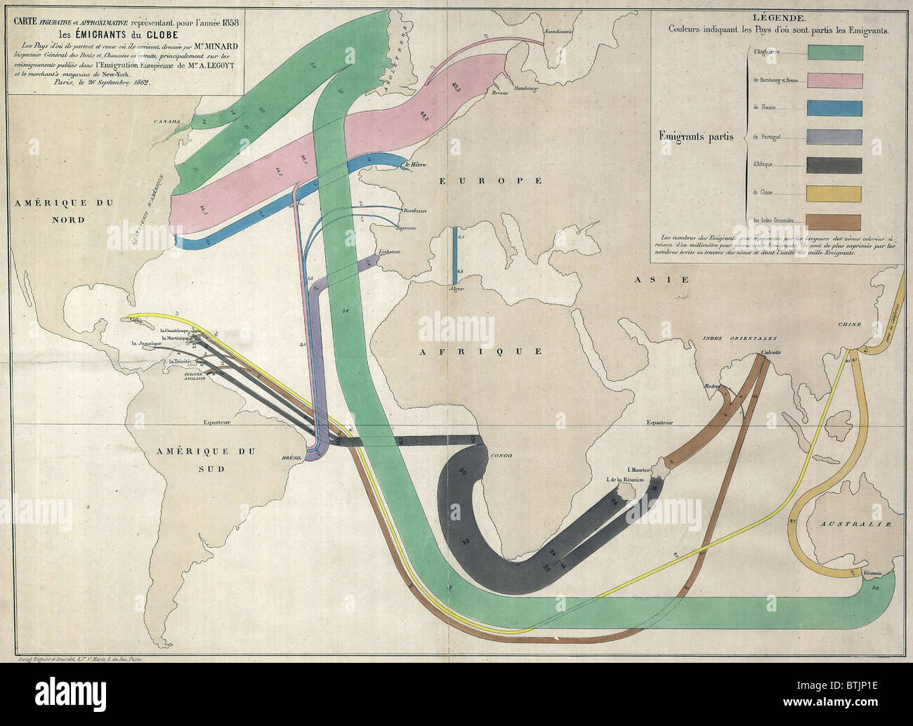 1858 French map showing immigration routes from Europe The