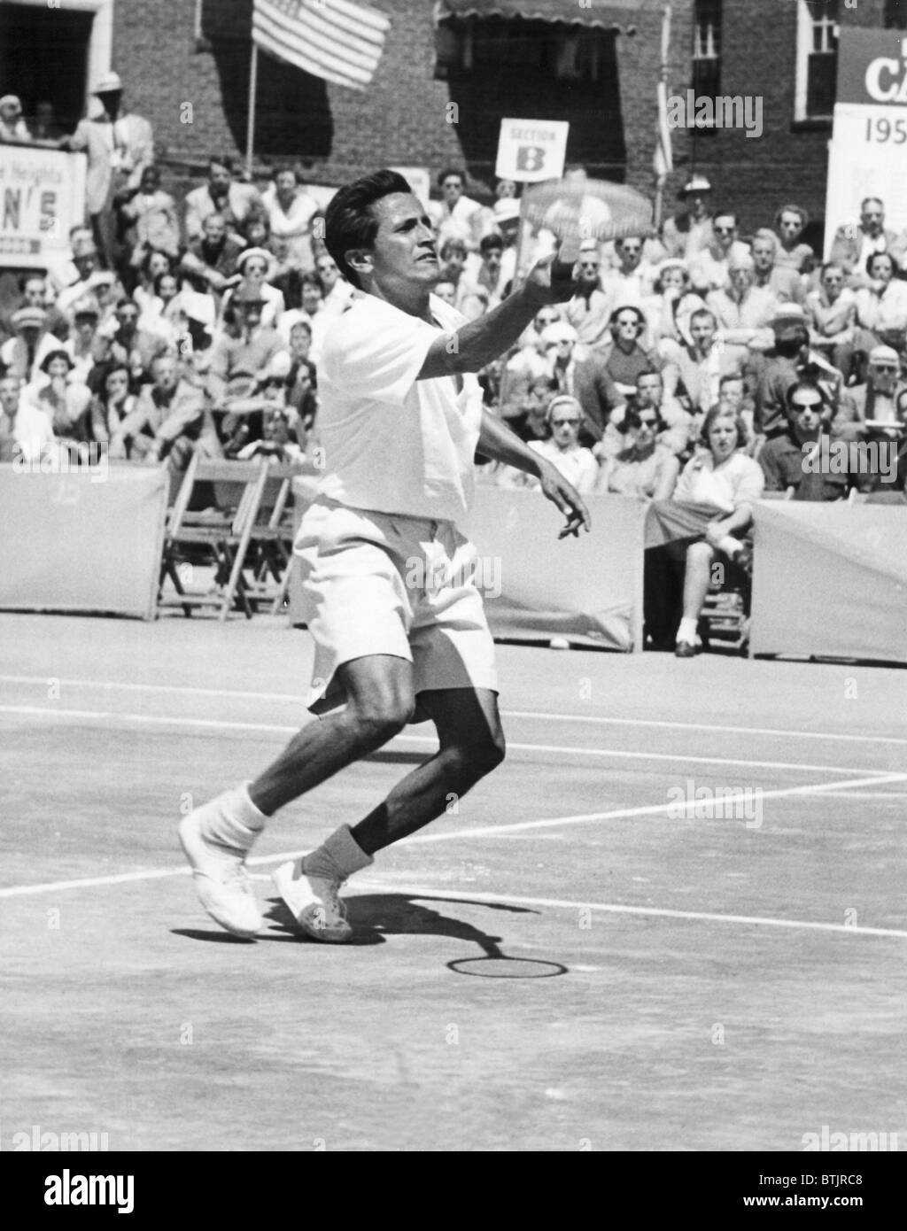 Pancho Francisco Segura playing against Jack Kramer in the US