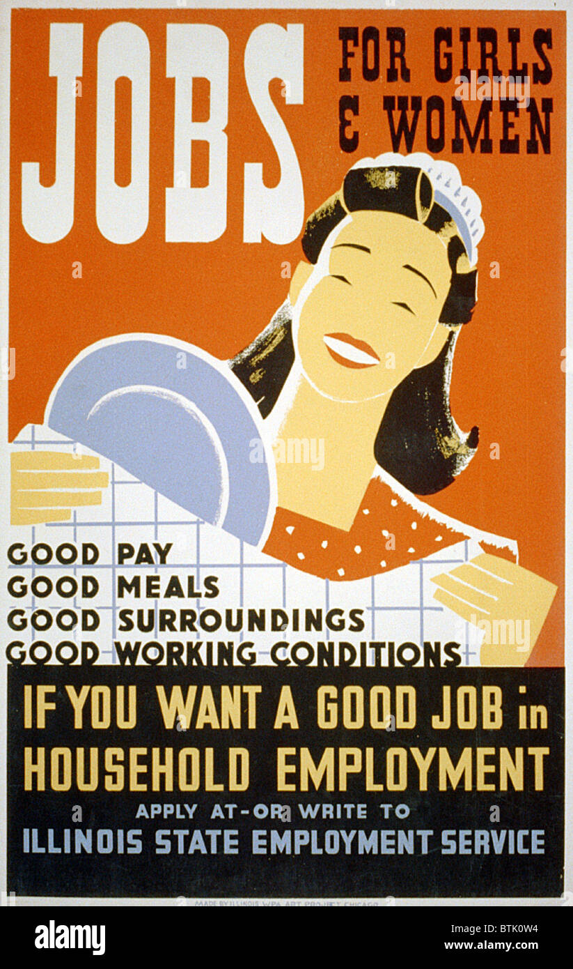 help wanted advertisement stock photos help wanted advertisement poster for illinois state employment service promoting jobs for women as domestics offering