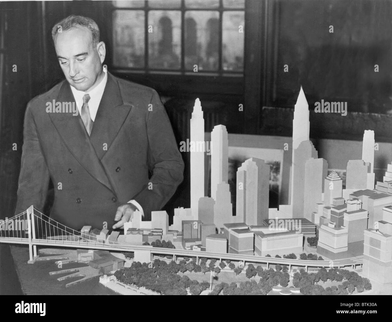 New York City Park Commissioner Robert Moses 1888 1981 With Model Of Proposed