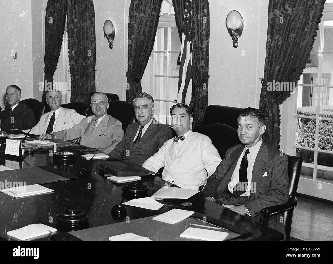 President Harry S. Truman with his cabinet. (from left to right ...