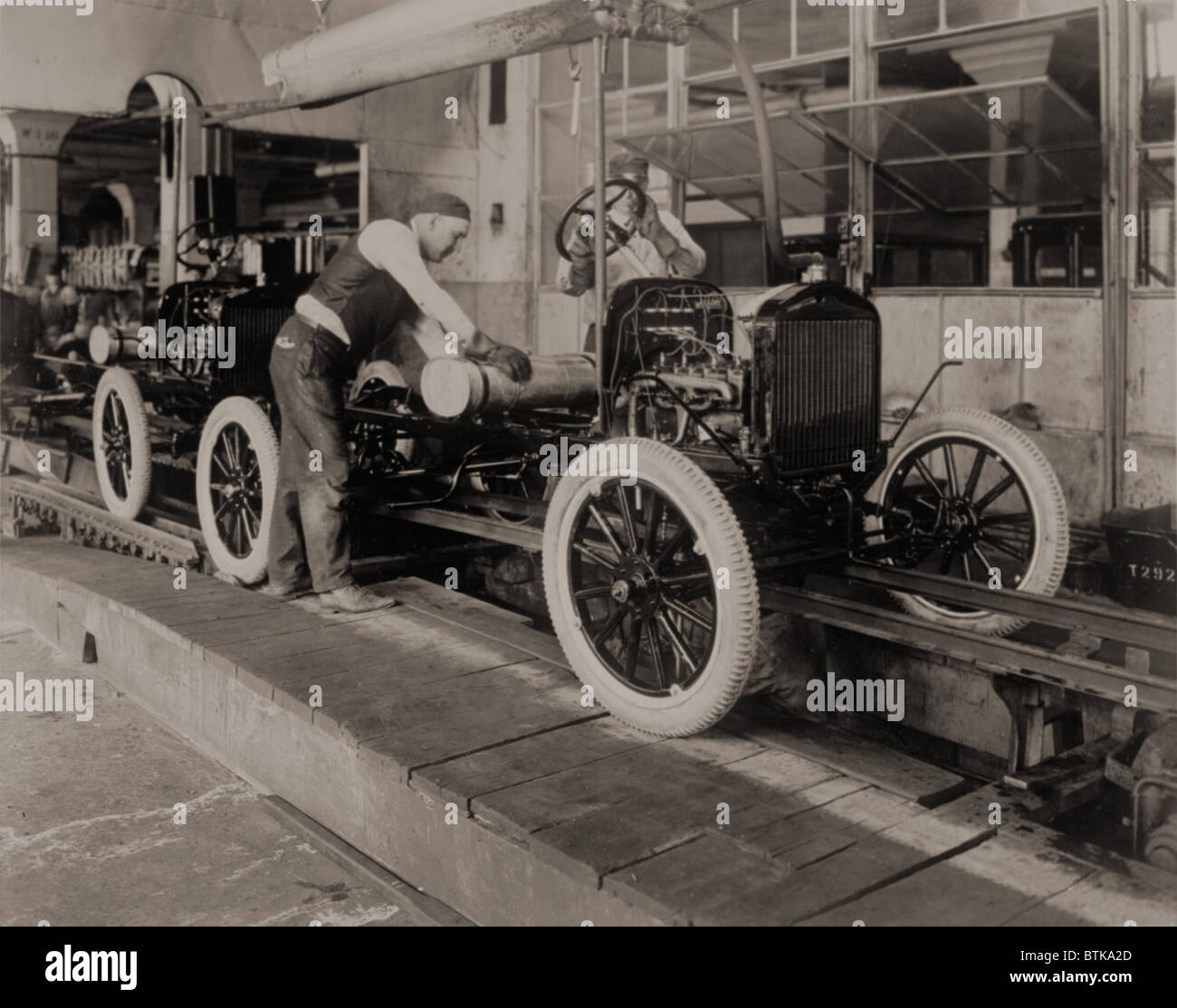 Ford Model Ts On The Moving Assembly Line First Used By Motor Company In 1913