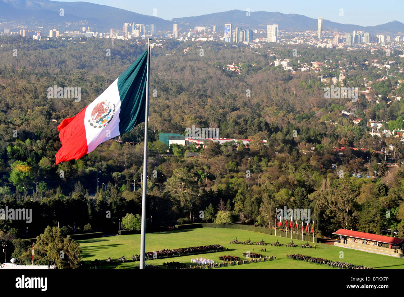 aerial view of a mexico flag in the national auditorium at