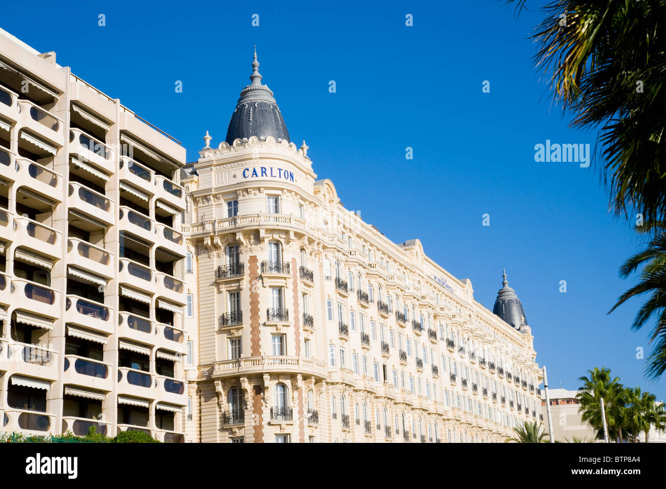 carlton hotel cannes cote d 39 azur france stock photo. Black Bedroom Furniture Sets. Home Design Ideas