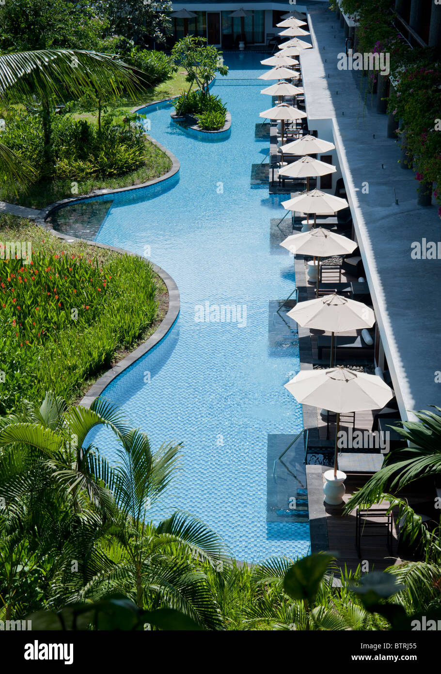 Aerial view of the lagoon access rooms in the grounds of the melia bali hotel nusa