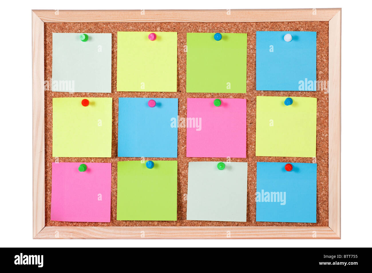 Pieces of blank colorful note papers on a cork bulletin for Aviso de ocasion mural