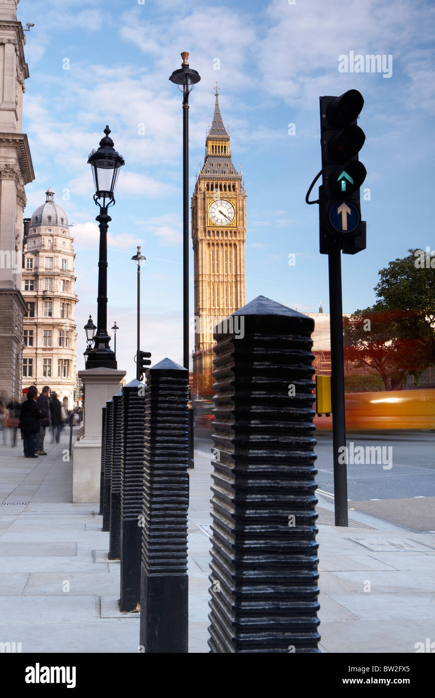 Attractive Abstract Pavement Street Furniture Bollards, Traffic Lights And Big Ben  Clock Tower Ar Parliament Square, Westminster, London, England, UK