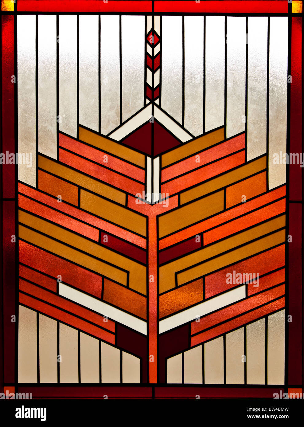 symmetrical stained glass window retro art deco design. Black Bedroom Furniture Sets. Home Design Ideas