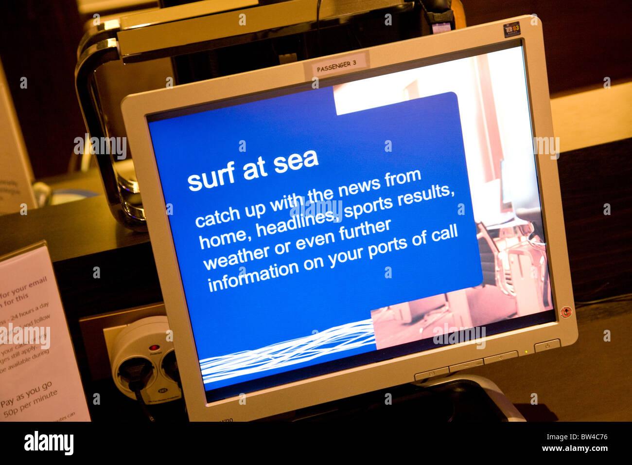 Azura Cruise Ship Internet Facility Computer Link Stock Photo - Cruise ship internet