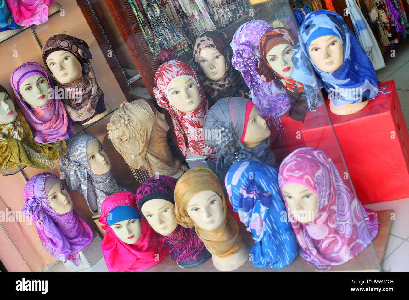 Jordan, Madaba, city, shop, shopping, window, head, scarf ...