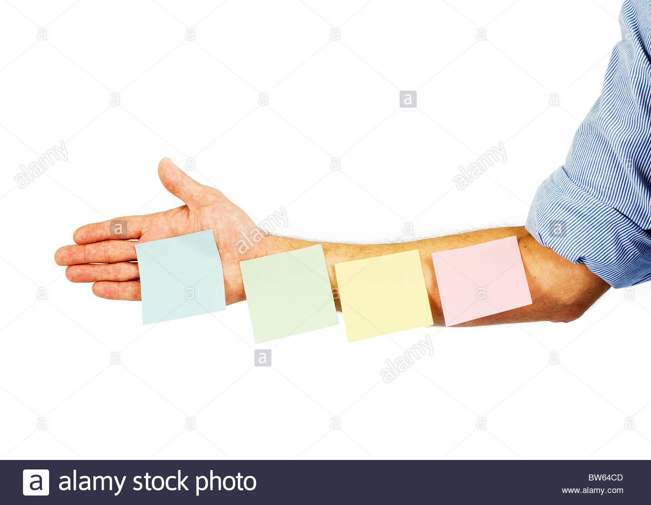 blank memo post it notes on arm stock photo royalty image blank memo post it notes on arm