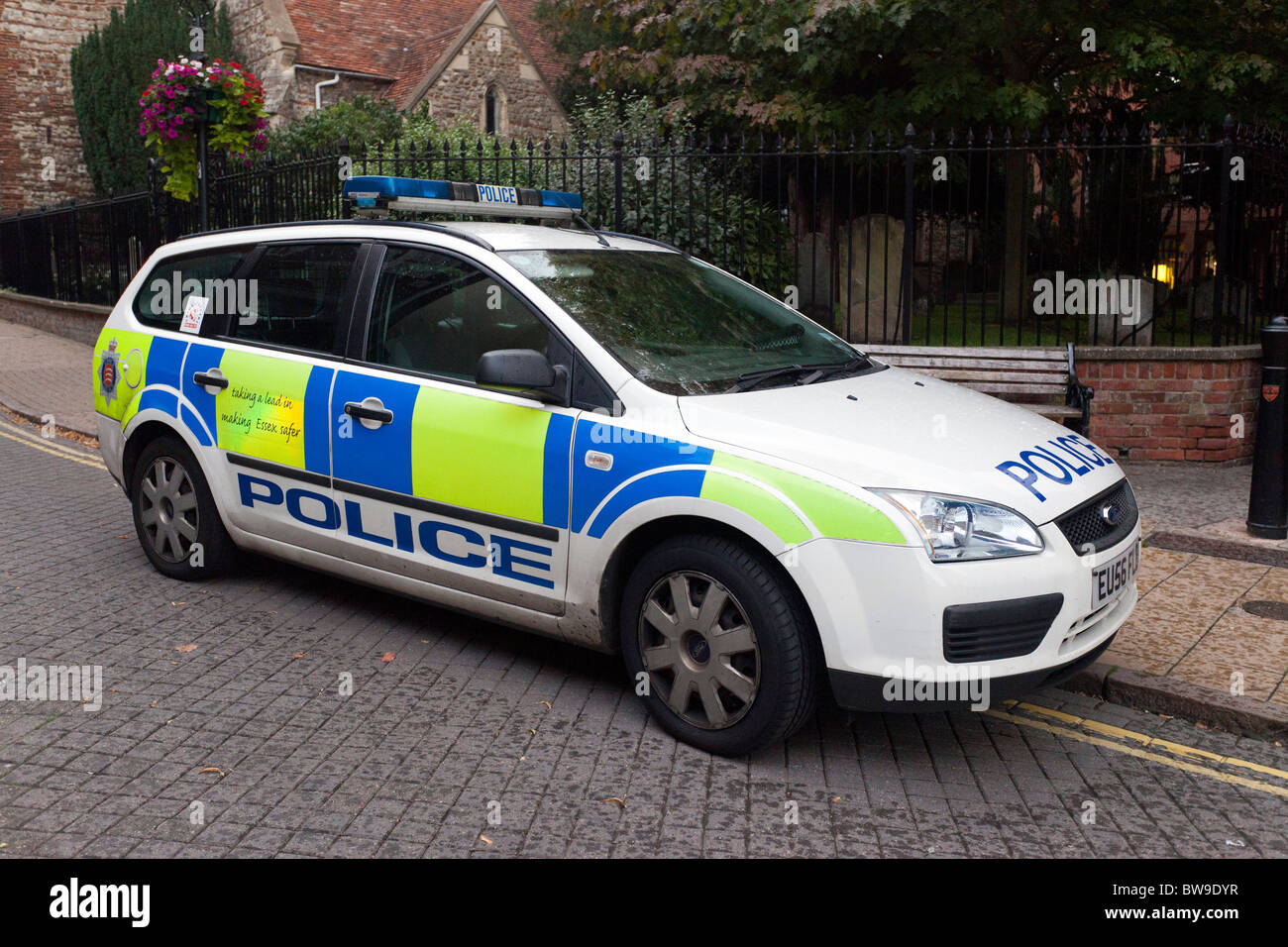 police car parked in a street uk stock photo royalty. Black Bedroom Furniture Sets. Home Design Ideas