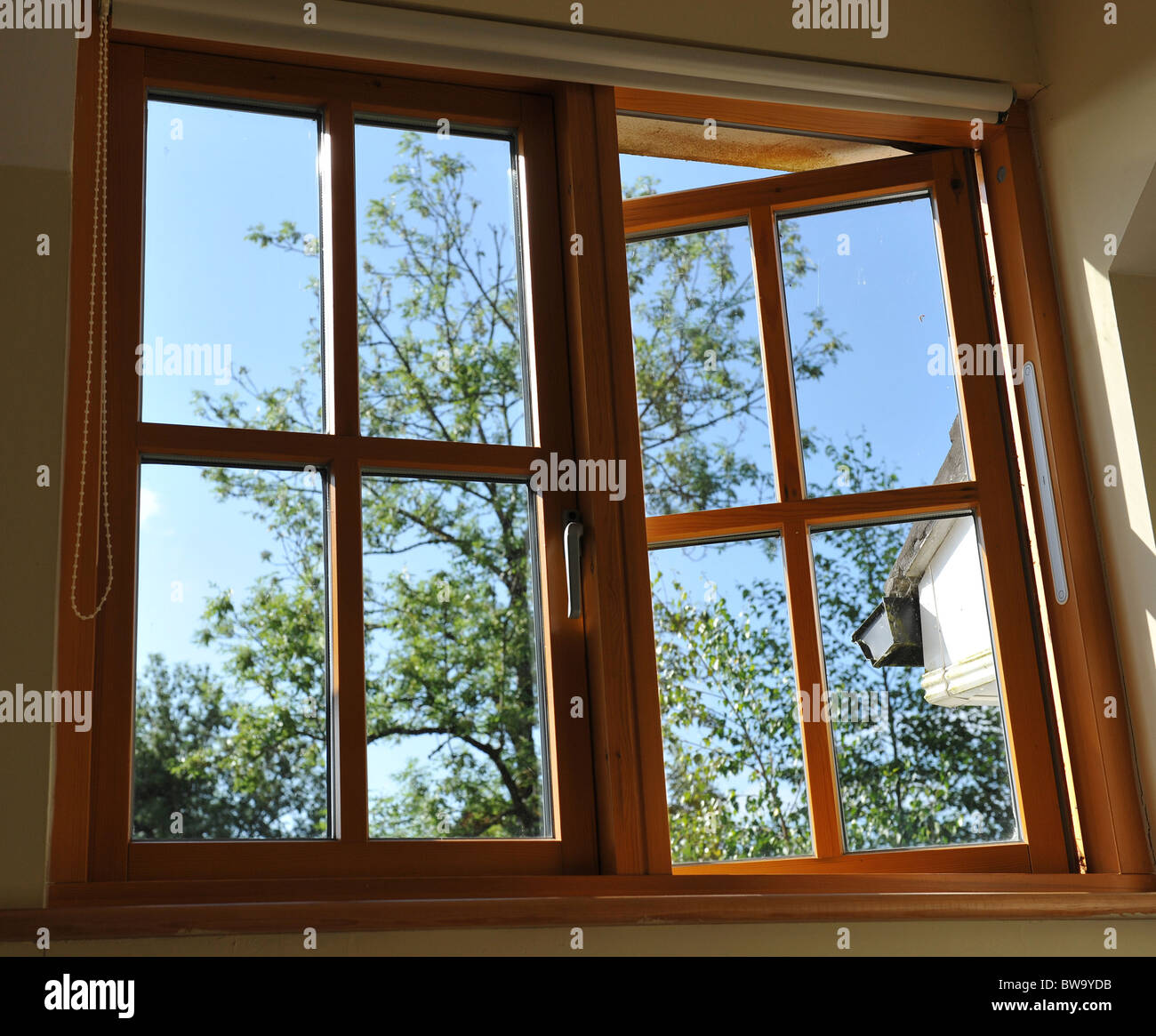 Double glazed wooden window frame in the home