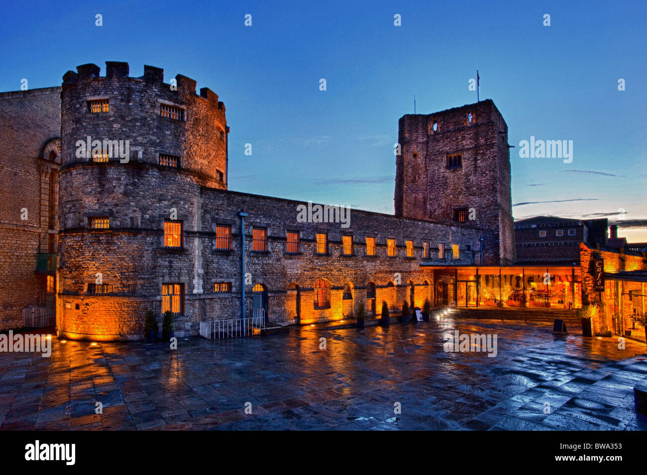 Oxford Castle And Former Prison Complex At Twilight Now A Hotel Visitor Centre