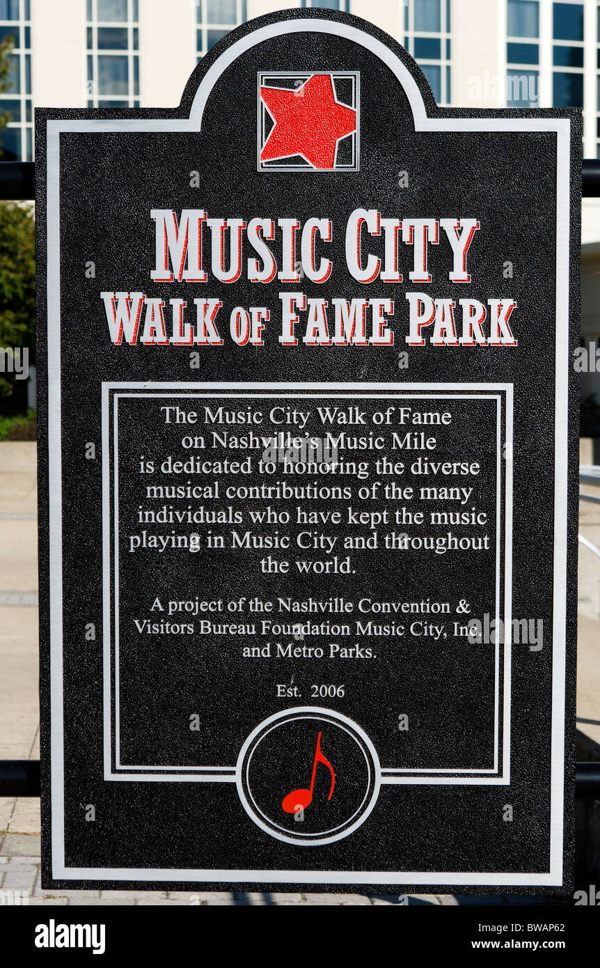 Music city walk of fame park nashville tennessee usa for Cabine per stare a nashville tn