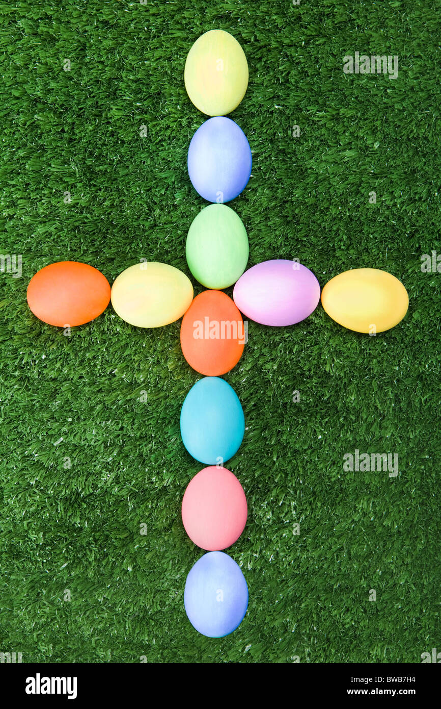 Image Of Cross Made Up Easter Eggs On Green Grass