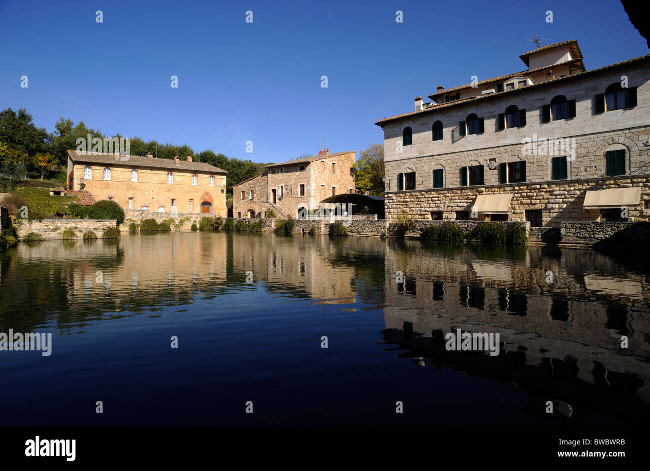 Italy Tuscany Val D Orcia Bagno Vignoni Hot Springs
