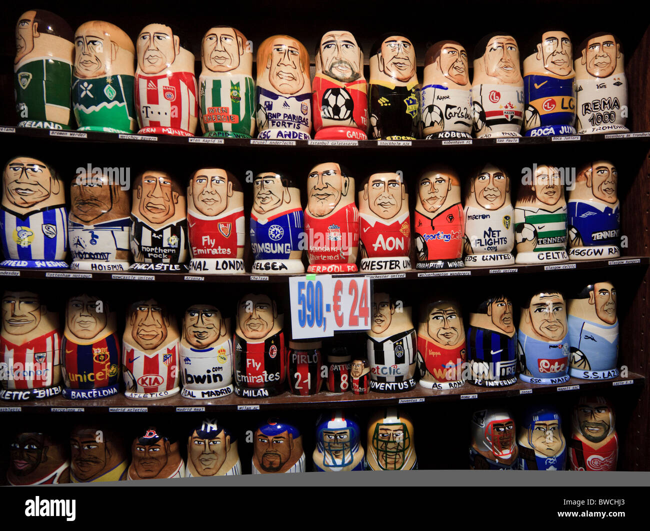 Russian Dolls In The Team Strips Of Football Clubs In A