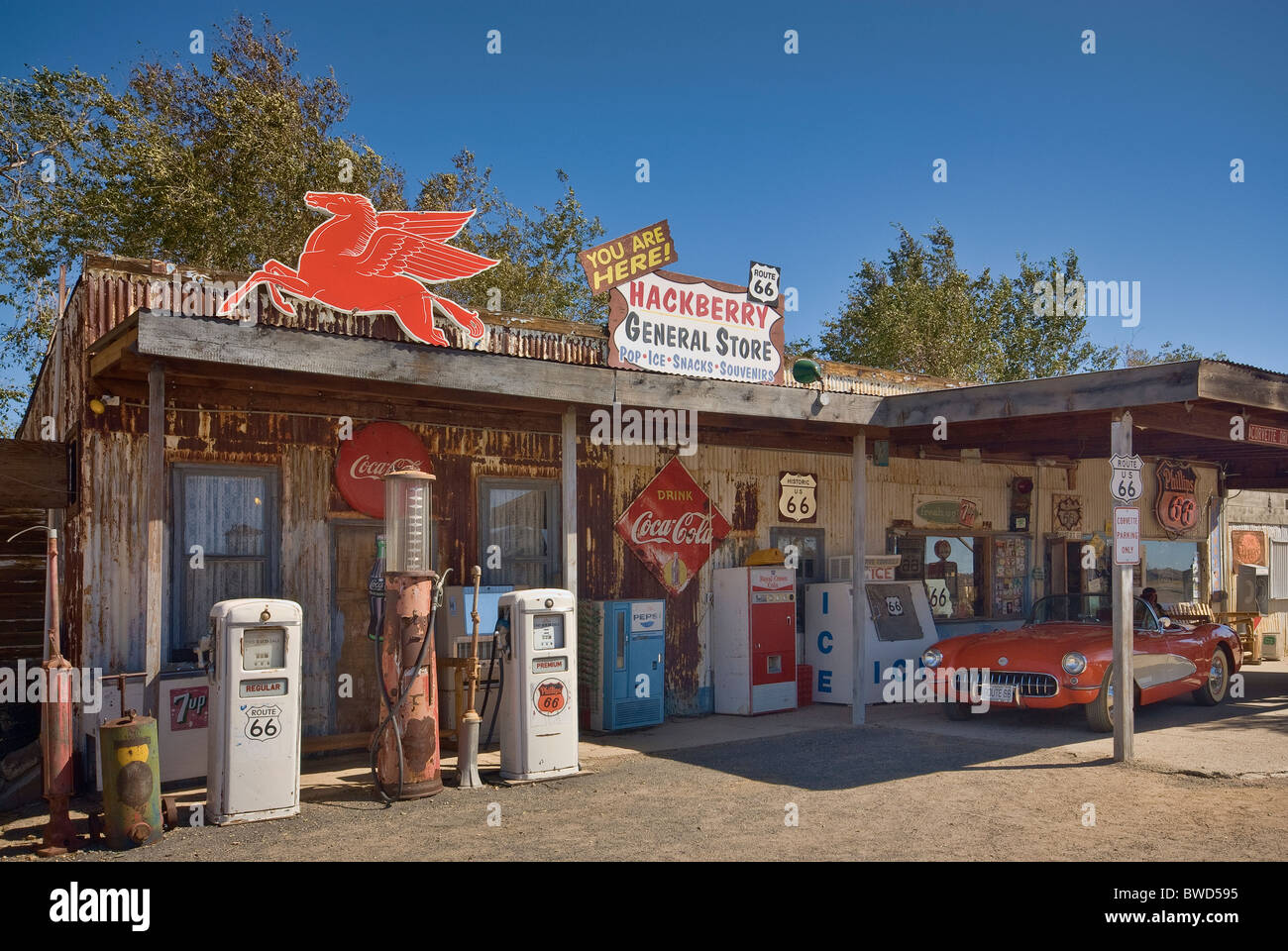 Gift Shop at old gas station on Route 66 in Hackberry ...