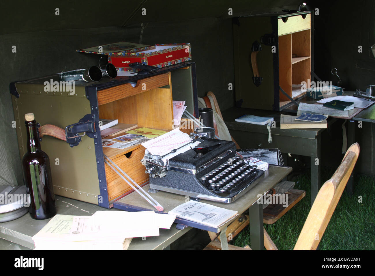 A World War II clerk desk and a manual type writer in a tent c& & A World War II clerk desk and a manual type writer in a tent camp ...