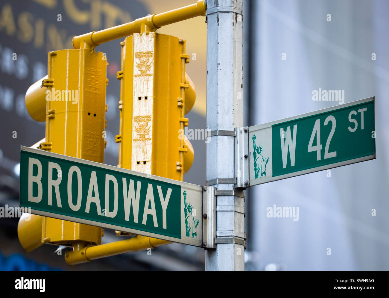 USA, New York, NYC, Manhattan, Roadsigns for Broadway at ...